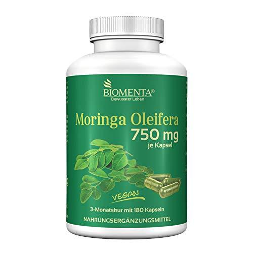 BIOMENTA MORINGA OLEIFERA | 750 mg Moringa por capsula | 180 capsulas de moringa veganas | por tres meses