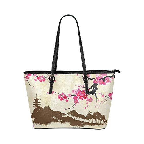 InterestPrint Vintage Landscape With Spring Cherry Blossom Women's Leather Tote Shoulder Bags Handbags