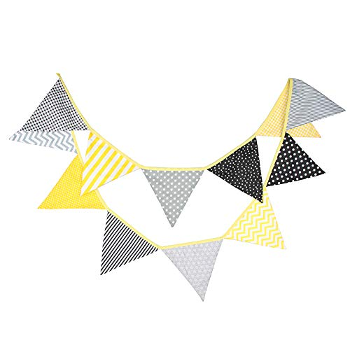 Prosperveil 10.5ft Bunting Banner Flags Fabric Vintage Triangle Flag Pennant Garland for Kids Bedroom Outdoor Birthday Wedding Party Decorations (Yellow and Grey)