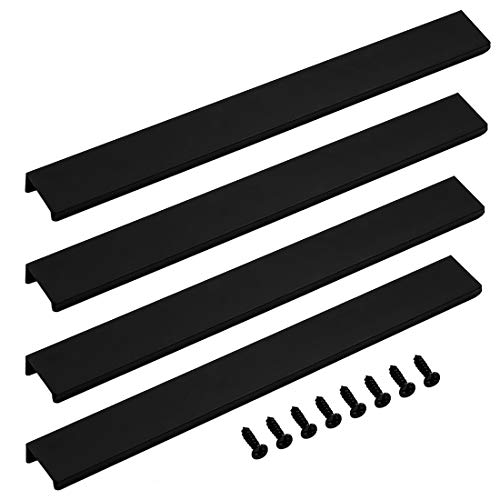 LICTOP 300mm/11.8' Finger Edge Pull Tab Handle Home Kitchen Cabinets Drawers Collection Long Center Aluminum Black With Screws (4 Pcs)