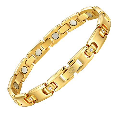 Magnetic Therapy Bracelets for Women Titanium Health Pain Relief for Arthritis Wristband with Adjustable and Carpal Tunne(Gold)