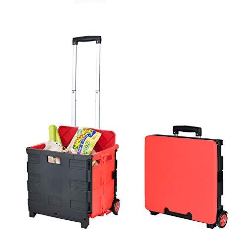 キャリーカート 折りたたみ式 カート ショッピングカート キャリー 買い物カート 容量35L アウトドア キャンプ 旅行 多機能 2つ車輪 車輪静音 大容量 蓋付き 簡単組立て 携帯便利 (M)