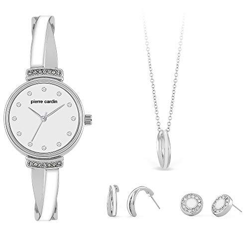 Pierre Cardin Geschenk-Set Armbanduhr Uhr Damen Silber