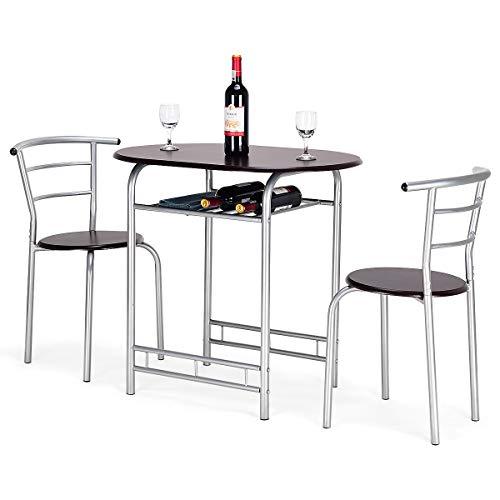 Goplus Set Mobili Tavolo con 2 Sedie, Tavolo e Sedie da Pranzo per 2 Persone, con Design Semplice, in Legno Robusta Struttura in Metallo (Marrone)