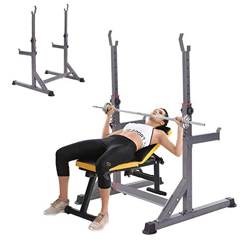 Tcylz Banco de peso ajustable Multifunción Levantamiento de peso Inicio Gimnasio Fitness Multifuncional Ajustable Squat Rack, Fitness Hogar Barbell Stand, Stands Bench Press Marco Aptitud Deportes Dep