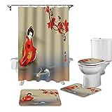 SHUOFUSH Geisha Pintura Carpa Estilo japonés Cortina de Ducha Femenina Juego de Fundas de Asiento de Inodoro Accesorios de baño Alfombra decoración de baño Cortinas de baño