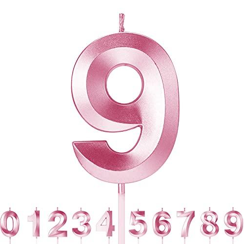 Roserrose Candele di Compleanno Numbero, Candele di compleanno rosa scintillante, Adatto A Feste di Compleanno, Feste di Anniversario di Matrimonio, Serate di Laurea (9)