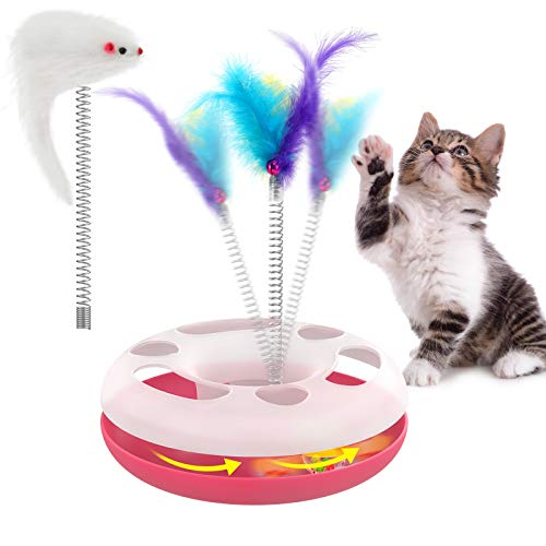 Pawaboo Interactive Cat Toys, Kitty Interactive Track Toy Spring Cat Toys with a Mouse-shaped Toy, a Feather with Bells and Rolling Ball, Cat Feather Teaser Wand Toy for Indoor Cats Kitten, Pink&Clear