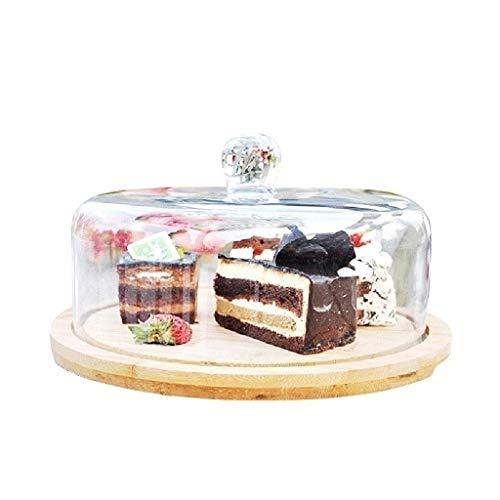 PETAAA taartbord met deksel, hout nachtkastje taartplaat glas sandwich sushi taartstolp levensmiddelen glazen glazen glazen glazen glazen glazen klokje glazen glazen glazen glazen glazen pot chip & dip server 11inch