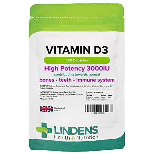 Lindens Vitamin D3-120 Capsules - High-Potency 3000IU Capsules for Bones, Teeth, Immune System - 1500% NRV - UK Manufacturer, Letterbox Friendly