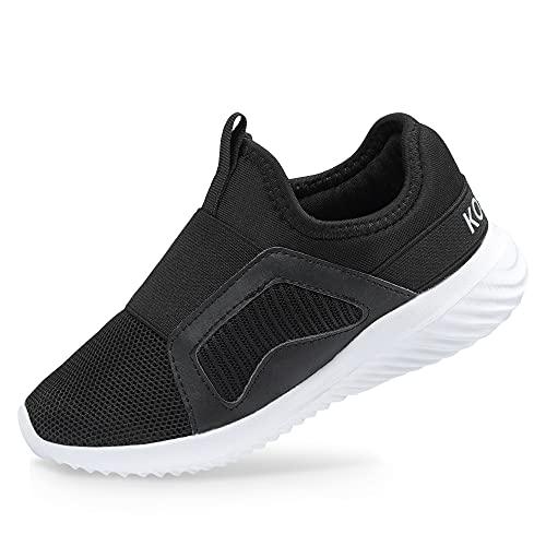 BXYJDJ Kids Boys Girls Running Shoes Comfortable Lightweight Breathable Slip on Sneakers Athletic Tennis Shoes(Big Kid) Black