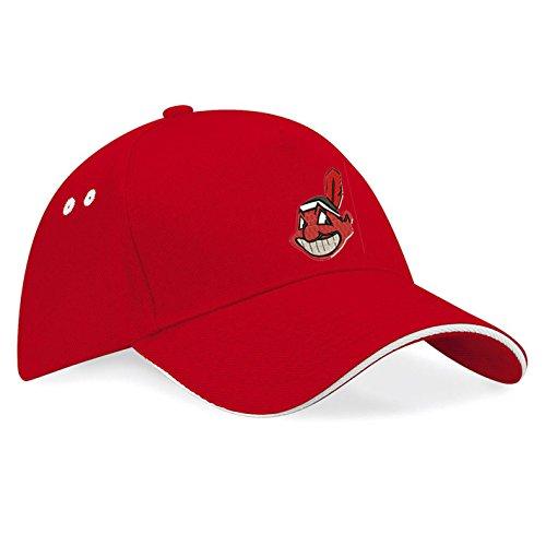 subla2017 Cleveland Indians Baseball Bestickte Logo Premium Baseball Cap Mütze - k 092 (Rot)
