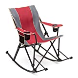 SUNNYFEEL Camping Rocking Chair, Mesh Back Recliner, Folding Chair with Cup Holder, Storage Pocket, for Beach/Lawn/Outdoor/Travel/Picnic/Patio, Foldable Camping Rocker Chair with Carry Bag (red)