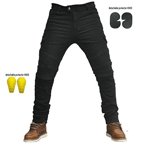 Sportliche Motorrad Hose Mit Protektoren Motorradhose mit Oberschenkeltaschen Schwarz (M- (Waist 33