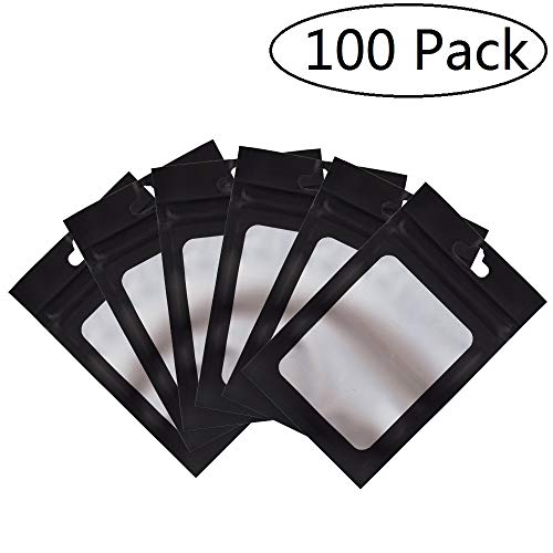 100 Pack Smell Proof Bags 3x4.5 inch, Odorless Mylar Bags with clear Window Heat Seal Pouch Food Safe Storage Aluminum Foil