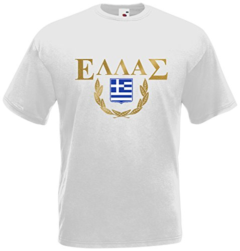 Griechenland Hellas T-Shirt Fanshirt Trikot EM-2021 Weiß S