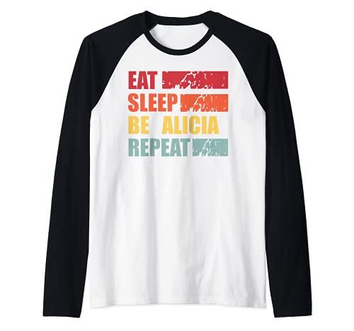 ALICIA - Camisa con nombre personalizado ALICIA Camiseta Manga Raglan
