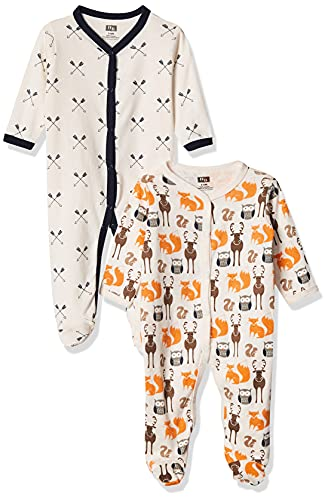 Hudson Baby - Mameluco unisex algodón Sleep and Play, algodón dormir y jugar, 6-9 meses, Moon and Back
