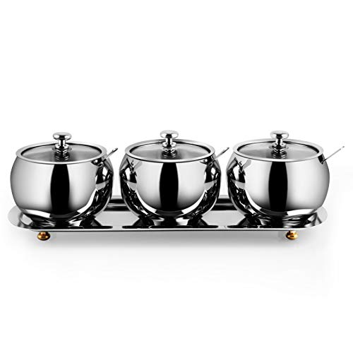 Earl Diamond Premium Stainless Steel Sugar Bowl with Stainless steel border Glass Lid and Spoon Drum Shape High Capacity 95 Oz 300 ml