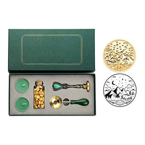 Vintage Sellado Cera Tableta Perlas Vela Desmontable Cuchara Sello Set con Caja de Almacenamiento Kit Sobre Invitación Artesanía