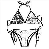 Conjunto de Bikini para Mujer, Estampado Tropical con Camaleones Rosados en Hoja de Palma Clima exótico Naturaleza Selva, Traje de baño de Dos Piezas