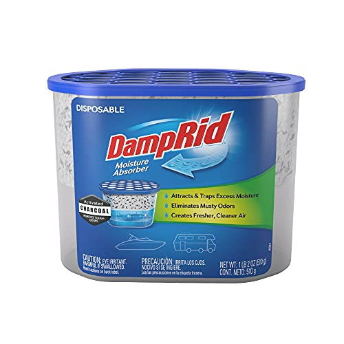 DampRid Fragrance Free Disposable Moisture Absorber for Boats and RVs with Activated Charcoal – 18 oz.; Odor Absorber & Remover