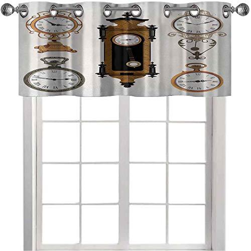Cenefa, un conjunto de relojes de estilo vintage con diseño antiguo de temas antiguos, 91 cm de ancho x 45 cm de largo cenefas para sala de estar, Umber y Beige