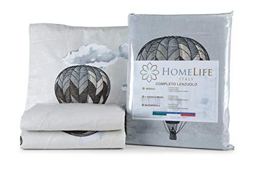 HomeLife Juego de sábanas de algodón con Globos y Edificios Funda de Almohada   Sábana encimera de 160x300, sábana Bajera de 90x200, Funda de 52x82 - Beige, Cama de 90cm