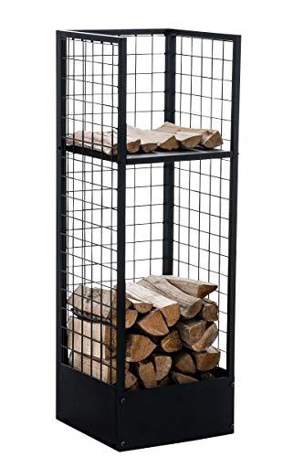 CLP Metall-Kaminholzständer Forrest | Kaminholzhalter aus Metall in schwarz | Stabile Stapelhilfe für Brennholz, Farbe:schwarz