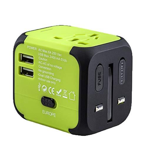 Adaptador Enchufe De Viaje Adaptador de viaje mundial, adaptador de potencia internacional, adaptador de enchufe universal con 2 puertos USB para EEUU Reino Unido AUS Europa Asia Teléfono celular port