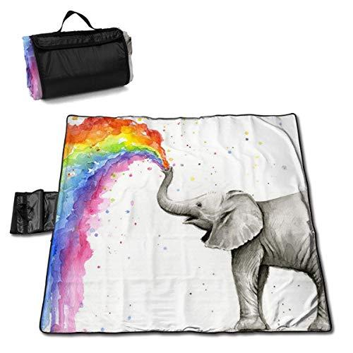 Baby Elephant Spraying Rainbow Extra Large Couverture de Plage Tapis de Pique-Nique