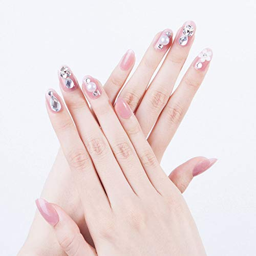 rpbll Sticker Glitter Crystal Imitation Pearl Diamond Jelly Color Fake Nail Art Patches with Glue Bride Full Cover Manicure Tool 24pcs as the picture shows