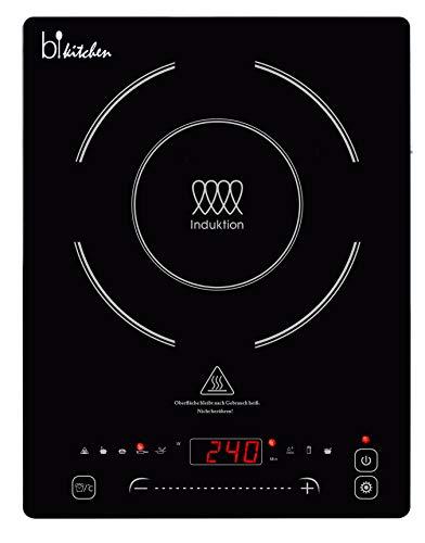 BKITCHEN Cook 400 - Piastra di cottura a induzione super piatta con piano cottura in vetroceramica, 7 programmi di cottura, riconoscimento automatico della pentola, funzione slide