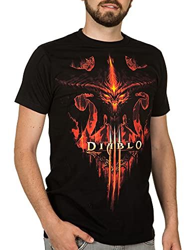 JINX Diablo III Burning Men's Gamer Graphic T-Shirt, Black, Small