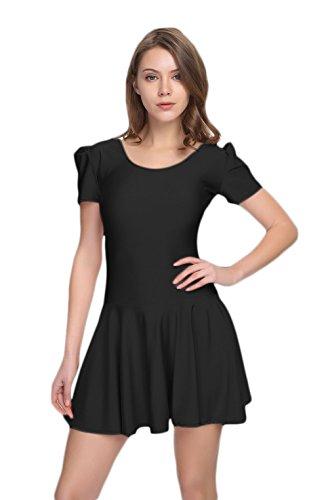WOLF UNITARD Short Sleeve Skirted Leotard Dance Bodysuit Small Black