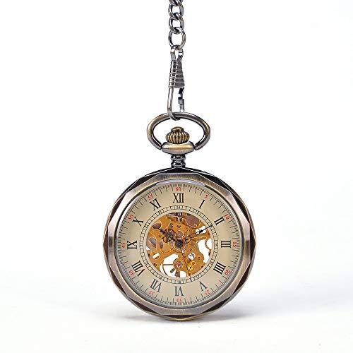 Yhjkvl-AC reloj de bolsillo retro sin cubierta reloj mecánico hueco romano gran palabra reloj viejo reloj mecánico masculino (color: oro, tamaño: 4,7 x 1,5 cm)
