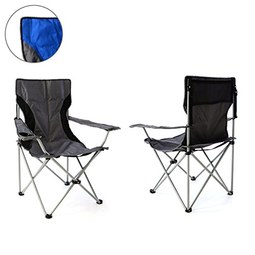 Nexos 2er Set Campingstuhl Faltstuhl blau grau mit Armlehne Getränkehalter Angelstuhl bis 150 kg Tragetasche Polyester Stahlrohr Accessoires-Netz stabil wasserabweisend 90x47x47 cm (Grau)