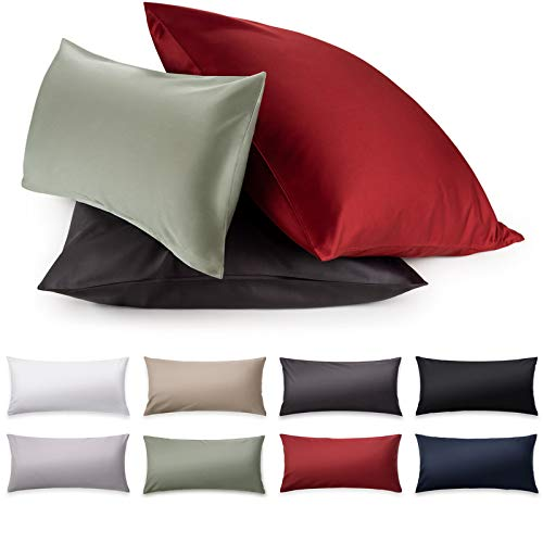 Blumtal Mako Satin Kissenbezug 40x60 cm - 100% Baumwolle, Superweicher Kopfkissenbezug 40x60, Kissenhülle, Black