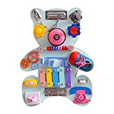 Dutyrow Brinquedo educativo para quadro de atividades, placa sensorial Montessori de madeira com fechaduras, cubo dinâmico, habilidade motora fina para crianças pequenas, viagens, berçário