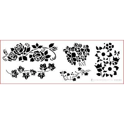 graphits Schablone Shabby Chic Kreativbaukasten, 01-001-0032, Blumenranken als Wandschablone, Textilschablone, Möbelschablone, Keilrahmengestaltung und Deko, Größe anpassbar
