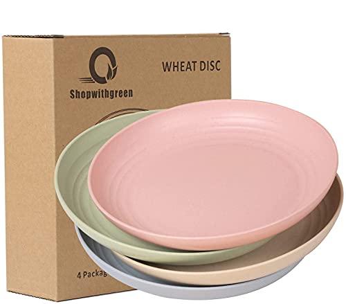 shopwithgreen Gesunde Teller   4er Set 22.3 cm aus Gesunde PP/Essteller/Menü-Teller,Mikrowellen & Spülmaschinenfest Dinner Geschirr-Ohne BPA