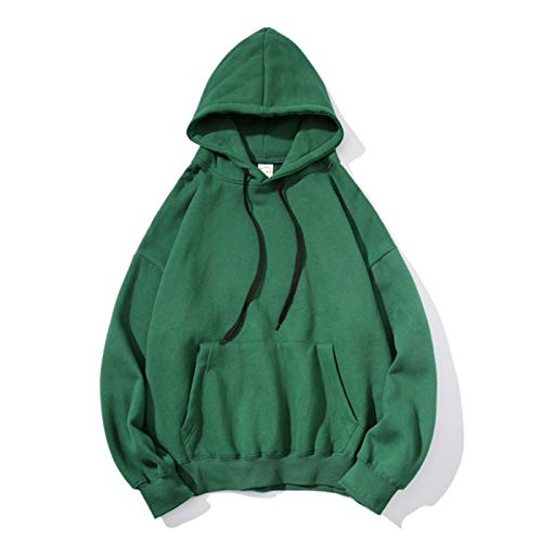 2020 Autumn and Winter Men's Plus Velvet Sweater Cross-Border Solid Color Trendy Brand Hooded Sweater Male Couple Long-Sleeved Jacket Plus Size Hoodie Green