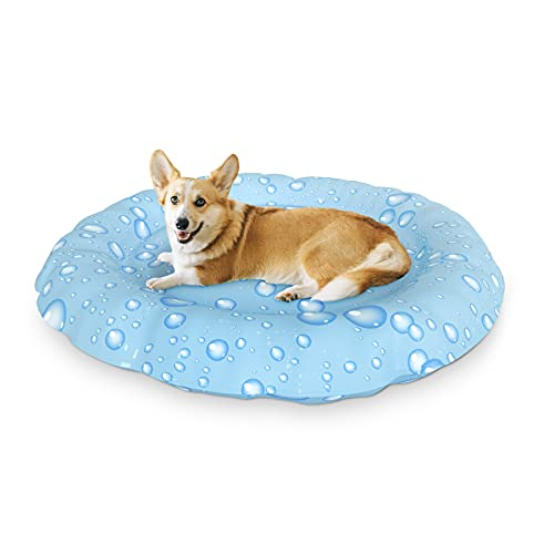 XJD Alfombrilla refrescante para Mascotas Grandes Auto refrigerante No tóxico Ideal para Perros, Gatos en Verano 62cm de diámetro(Gotitas de Agua)