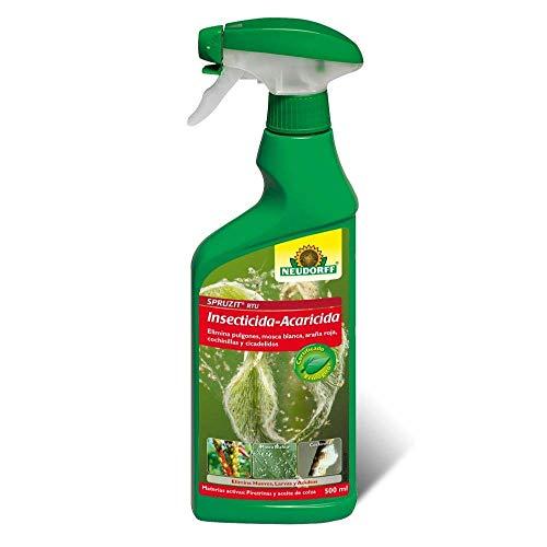 Neudorff Insecticida-Acaricida RTU Spruzit®, JED y Agricultura Ecológica, Especial Huevos, Larvas y Adultos de Pulgones, Mosca Blanca, Araña Roja, Cochinillas - Spray 500 ml