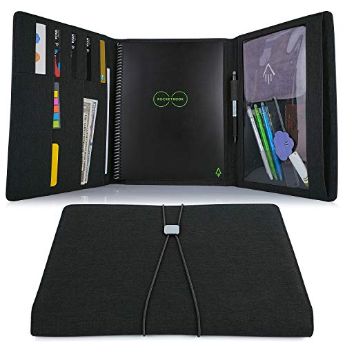Folio Cover for Rocketbook Everlast, Fusion Letter Size, Waterproof Fabric, Multi Organizer with Pen Loop, Zipper Pocket, Business Card Holder, fits A5 Size Notebook, Black, 11.4 x 9.4 inch