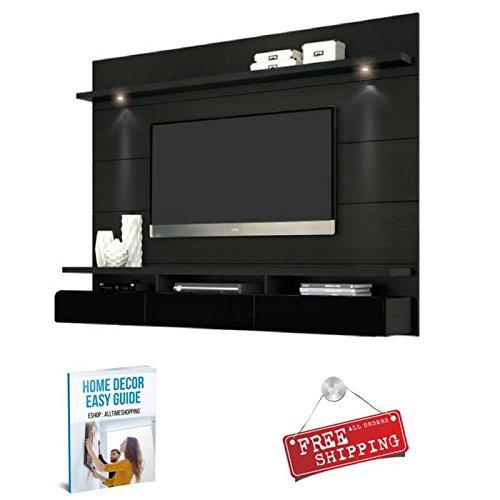 AllTim3Shopping Mueble de entretenimiento con luces para TV de color negro para soporte de pared de