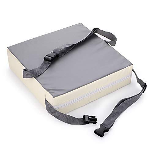 Rehausseur élégant de chaise pour tout-petit, démontable réglable lavable - Avec sangles - Facile à transporter et à ranger (gris+beige)