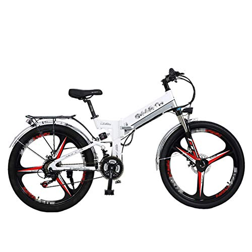 HLeoz 26'' Electric Bicycle Folding, 300W Mountain Bike 48V 10Ah Removable Lithium Battery and Front & Rear Disc Brake 21 Speeds Beach Cruiser Sports Mountain Bikes Full Suspension,White 1,UK