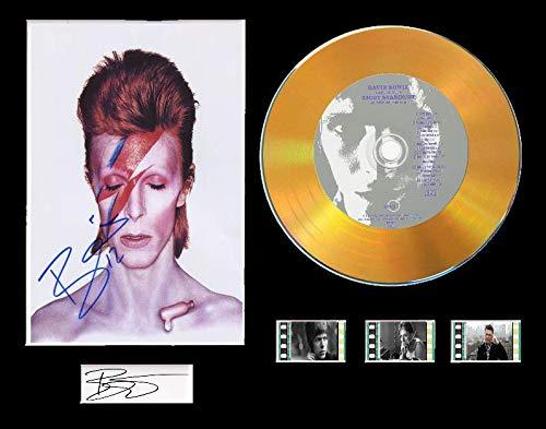David Bowie CD-Display mit Schallplatte und 3 Filmzellen (Goldene Scheibe, The Rise And Fall Of Ziggy Stardust gerahmt)