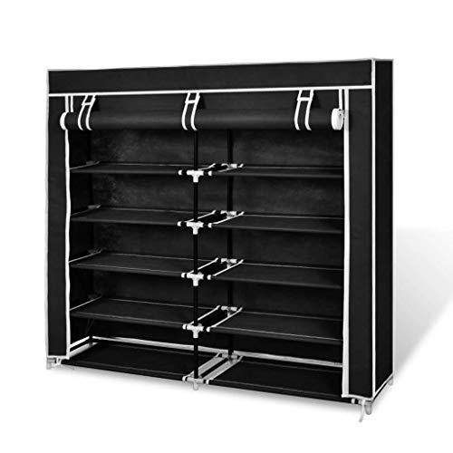 KWOPA Zapatero de 5 niveles, armario de almacenamiento multifuncional con cubierta a prueba de polvo, gabinetes de almacenamiento de zapatos con puertas, color negro, 115 x 28 x 110 cm